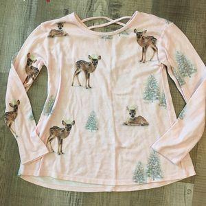 Justice pink long sleeve top deer